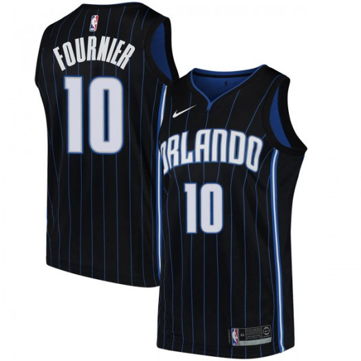 Men's Evan Fournier Orlando Magic Nike Swingman Black Jersey - Statement Edition