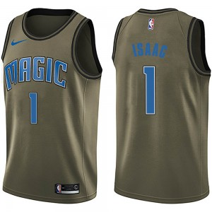 Men's Jonathan Isaac Orlando Magic Nike Swingman Green Salute to Service Jersey