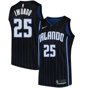 Men's Wes Iwundu Orlando Magic Nike Swingman Black Jersey - Statement Edition