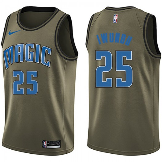 Men's Wes Iwundu Orlando Magic Nike Swingman Green Salute to Service Jersey