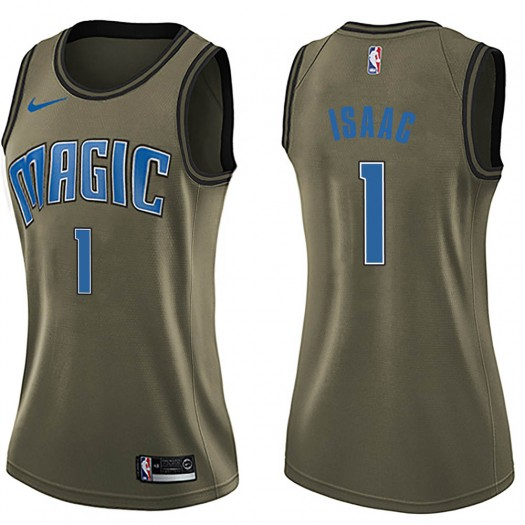 Women's Jonathan Isaac Orlando Magic Nike Swingman Green Salute to Service Jersey
