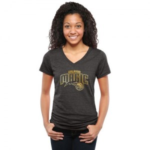 Women's Orlando Magic Gold Collection V-Neck Tri-Blend T-Shirt - Black