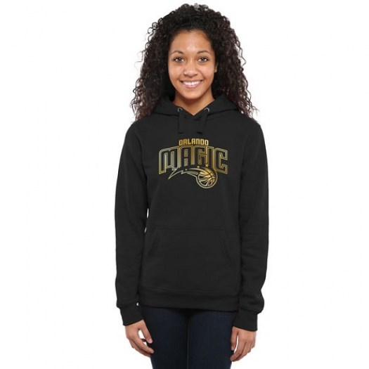 Women's Orlando Magic Gold Collection Ladies Pullover Hoodie - Black